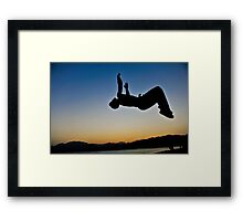 Parkour on the beach at sunset Framed Print