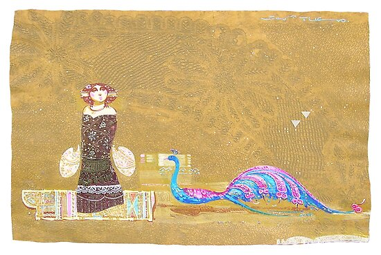 The riverside of golden peacocks by Tigran Akopyan