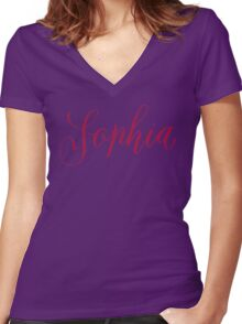 Sophia - Modern Calligraphy Name Design Women's Fitted V-Neck T-Shirt