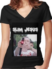 slim jesus Women's Fitted V-Neck T-Shirt