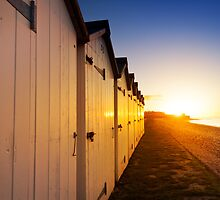 Beach Huts, Budleigh Salterton, East Devon. by Justin Foulkes
