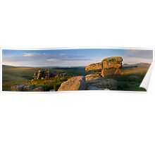 Panoramic view of Black Tor, Dartmoor, Devon.  Poster