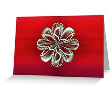 Cyan Bloom on Red Greeting Card