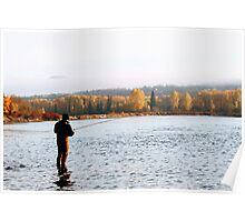 Steelhead Fishing at Sunrise Poster