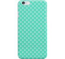 White Polkadot Hearts on Tiffany Aqua Blue  iPhone Case/Skin
