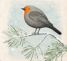 a winter robin by bymuravka