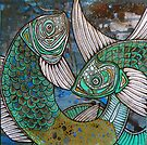 Two Blue Koi by Lynnette Shelley