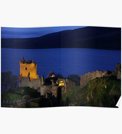 Dusk at Urquhart Castle Poster