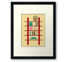 Blank greeting birthday card cute owl toy shelf Framed Print