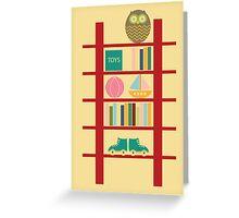Blank greeting birthday card cute owl toy shelf Greeting Card