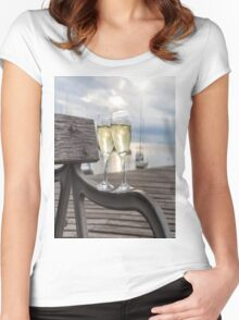 Wine and Sunset Women's Fitted Scoop T-Shirt