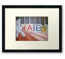 Teddy Bear and Blocks Framed Print