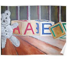 Teddy Bear and Blocks Poster