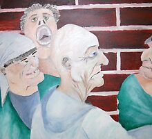 Mental Patients strung out from the Road by LeonRice