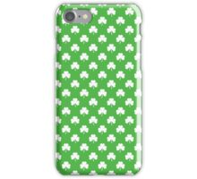 White Heart-Shaped Clover on Green St. Patrick's Day iPhone Case/Skin