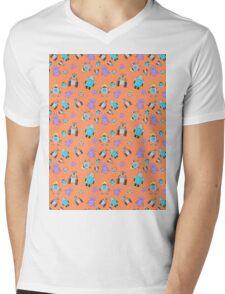 Robots Orange Mens V-Neck T-Shirt