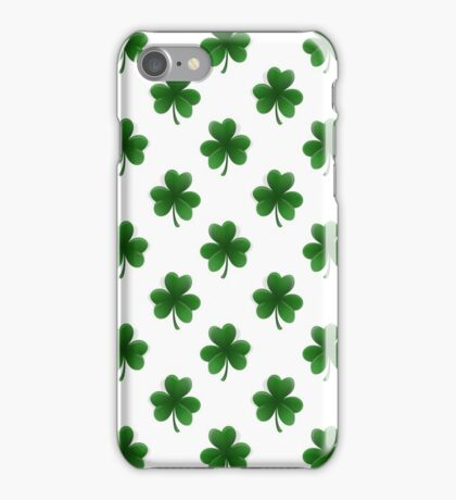 Shamrock 2-Tone Green on White St.Patrick's Day Clover iPhone Case/Skin