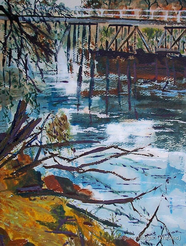 The old trestle bridge, Seymour Vic Australia by Margaret Morgan (Watkins)