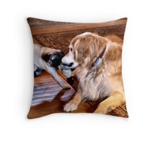 SweetPea and Rosco - Tug With A Toy Throw Pillow
