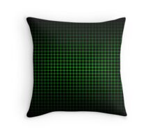 Optical Illusion Grid in Black and Neon Green Throw Pillow
