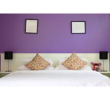 violet lovely bedroom Photographic Print