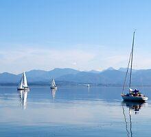 sailing boats in Chiemsee lake, Germany by juat