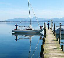 sailing boat at Chiemsee lake pier by juat