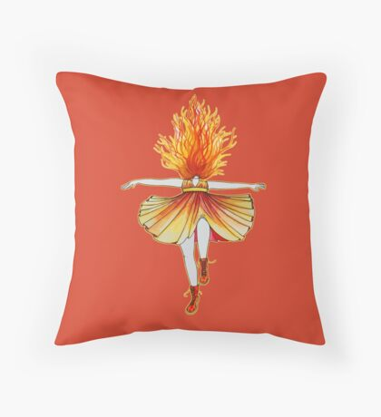 Girl on fire by Studinano Throw Pillow