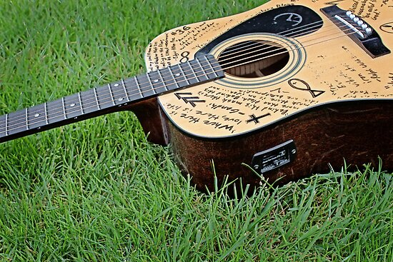 Acoustic guitar in grass 2 by craig deruyter redbubble for Acoustic guitar decoration