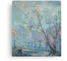 Evening Rainfall  / 1987 / oil on cardboard Canvas Print