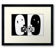 Music poster template in simple classic style with singing duet Framed Print