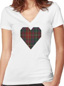 00343 Meath County District Tartan  Women's Fitted V-Neck T-Shirt