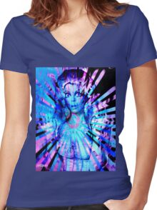 Psychedelic Barbie Women's Fitted V-Neck T-Shirt
