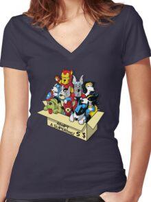 Adopt a Superdog Women's Fitted V-Neck T-Shirt