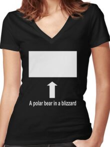 A polar bear in a blizzard Women's Fitted V-Neck T-Shirt