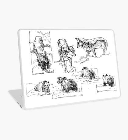 wolves and bears sketches Laptop Skin