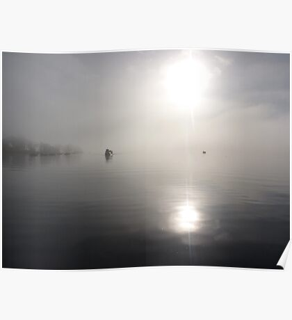the fog bank (lake windermere) Poster
