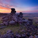 Great Staple Tor at dawn, Dartmoor, Devon. by Justin Foulkes