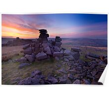 Great Staple Tor at dawn, Dartmoor, Devon. Poster