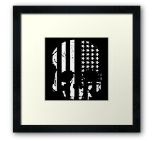 American Flag Skull (black and white) Framed Print