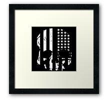 American Flag Skull (black and white) Framed Print