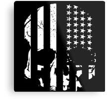 American Flag Skull (black and white) Metal Print