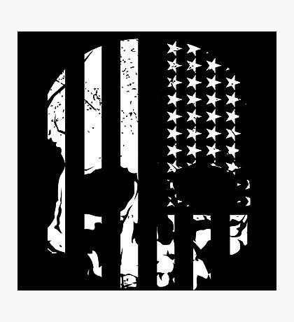 American Flag Skull (black and white) Photographic Print