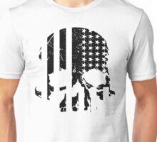 American Flag Skull (black and white) Unisex T-Shirt
