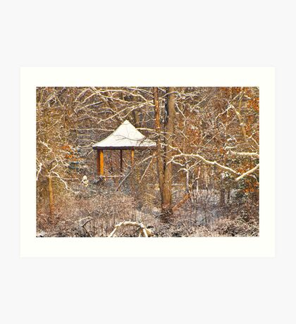 Gazebo with new snow (colored version) Art Print