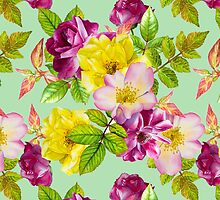 Purple and yellow roses floral pattern by ramarama