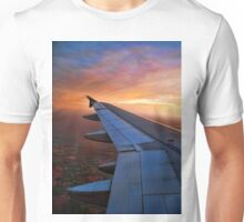 CAPTURED FROM INSIDE AIRPLANE WINDOW VIEW-WING OF AN AIRPLANE-JOURNAL-BOOKS-PILLOWS-TOTE BAG-CARD-CELLPHONE COVERS-PICTURE Unisex T-Shirt