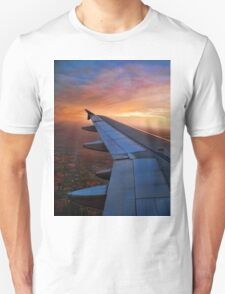 CAPTURED FROM INSIDE AIRPLANE WINDOW VIEW-WING OF AN AIRPLANE-JOURNAL-BOOKS-PILLOWS-TOTE BAG-CARD-CELLPHONE COVERS-PICTURE T-Shirt