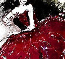 Red Silk Dress by RosWebb