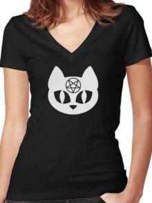 Pentagram Cat White Women's Fitted V-Neck T-Shirt